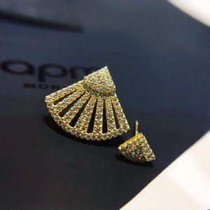 Apm Monaco Gold Fan Asymmetrical Stud Earrings